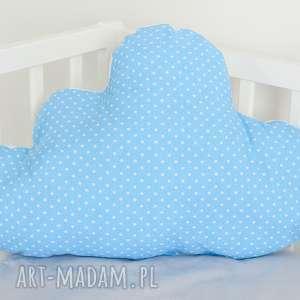 duża poduszka chmurka niebieska w kropeczki, pokójdziecka, groszki, kropki, chmura