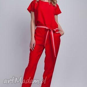 Kombinezon, KB102 czerwony, kombinezon, spodnie, bluzka, elegancki, pasek, czerwony