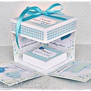 hand-made scrapbooking kartki pamiątka chrztu - exploding box z personalizacją