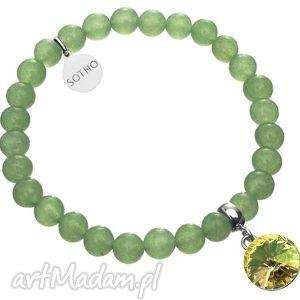 zielona bransoletka awenturyn zielony rivoli lumg swarovski® - kryształ