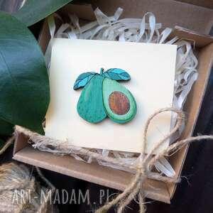 broszki broszka awokado, ręcznie malowana, drewno dębowe
