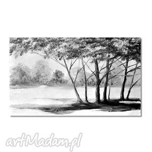 pejzaż w czerni i bieli, nowoczesny obraz ręcznie malowany, obraz, ręcznie, malowany