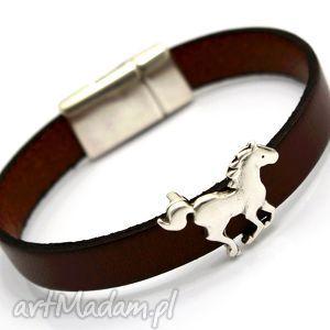 bransoletka skóra MAGNETOOS HORSE II brown, skóra, cyna, przekładka, koń, magnetyczne