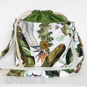 torebka listonoszka egzotyczne wzory z kominem welur tapicerski, zamszowa, mała