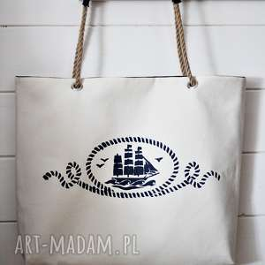 Torba z żaglowcem, torba, torebka, damska, letnia, plażowa, bawełniana