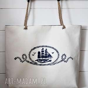 handmade na ramię torba z żaglowcem