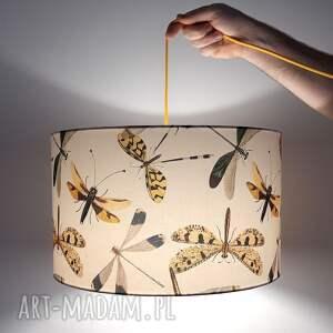 abażur beżowy do lampy vintage ważki, abażur, klosz lampy, vintage