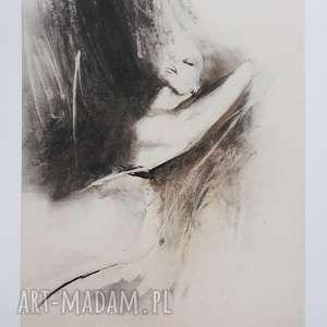 Woman dom galeria alina louka grafika do salonu, ecru, kobieta