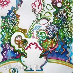 Tajemnieczy ogród dekoracje pi art akwarela, zielnik, rośliny