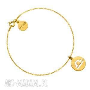 złota matowa bransoletka z zodiakiem wagi, bransoletka, zawieszka, zodiak, znak