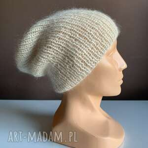 handmade czapki ręcznie robiona czapka hand made ściągacz 100% alpaka nitka moher
