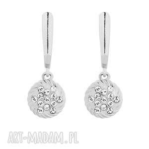 srebrne kolczyki z zawieszkami swarovski crystal, kolczyki, zawieszki, okrągłe