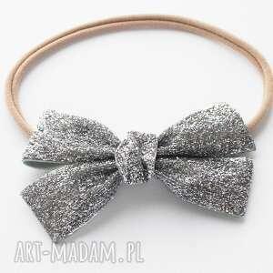 Pomysł na świąteczny prezent! Opaska do włosów velvet bow srebrna