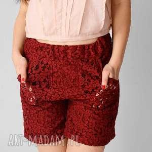 Bordowe szorty z koronki spodnie non tess koronka, art, bordo