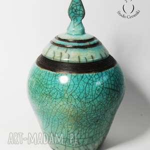 Pojemnik Raku, raku, ceramika, ceramika-artystyczna, wypał-raku, krakle, pojemnik
