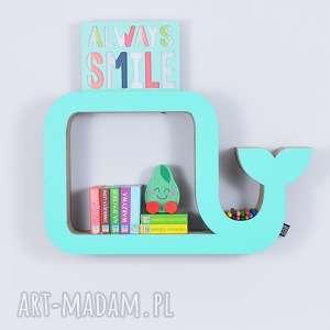 Półka na książki zabawki WIELORYB ecoono | miętowy, półka, chłopiec, dziewczynka
