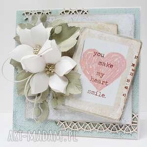 handmade scrapbooking kartki z napisem - w pudełku