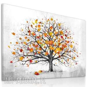 Nowoczesny obraz do salonu drukowany na płótnie z drzewem, jesienne drzewo, duży