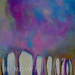 obraz na płótnie - fioletowy las 20/30 cm, las, abstrakcja, obraz, fioletowy, róż