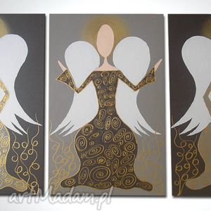 obraz ręcznie malowany - anioły szczęścia i dobrobytu a12 90x60cm, obraz