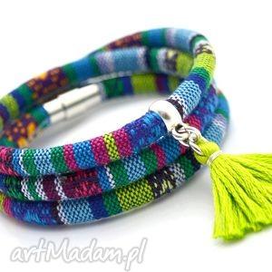 bransoletki bransoletka magnetoos boho azteq z chwostem, tkanina, oplataniec