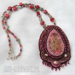 ręcznie robione naszyjniki naszyjnik - różowy jaspis