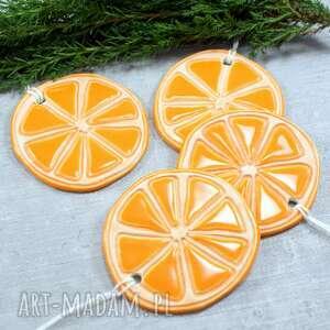 ceramika plasterki pomarańczy - zestaw zawieszek