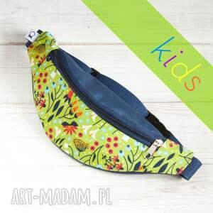 Nerka dla dziecka KIDS - kwiaty (jasna zieleń i granat), nerka, kwiaty, granat