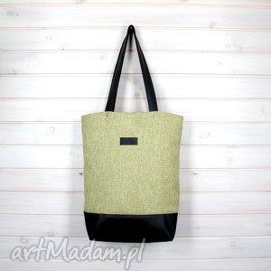 Prezent Limonkowa klasyczna torba pojemna zapinana, torebka, podróżna,