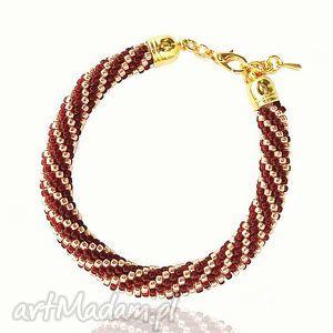 color gold - cherry and bransoletka koralikowa, bransoletka, koralikowa