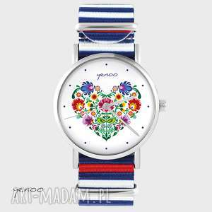 Prezent Zegarek, bransoletka - Folkowe serce paski, nato, zegarek,