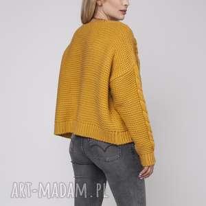 mkm swetry sweter bez zapięcia, swe150 żółty mkm, gruby, sweter, kardigan, narzutka