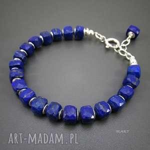 sześciany lapis lazuli -bransoletka, srebro, lazpis, lazuli, bransoletka