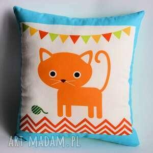 poduszka dziecięca - kotek rudzik - poduszka, dziecko, kotek, roczek, chrzciny