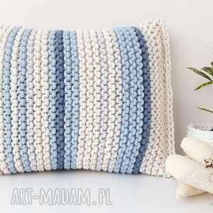 poduszka pasiak blue, poduszka, na drutach, pasiak, gruba poducha