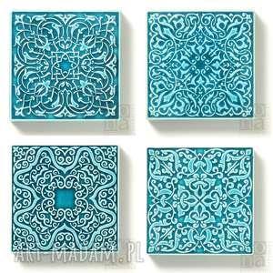 ręczne wykonanie ceramika dekory cztery ornamenty turkusowe