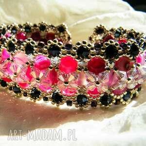 Bransoletka - agat różowy, kryształki, bransoletka, agat, toho