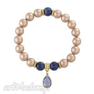 pearly chic - almond & navy blue 2 - kryształek, perły, zawieszka