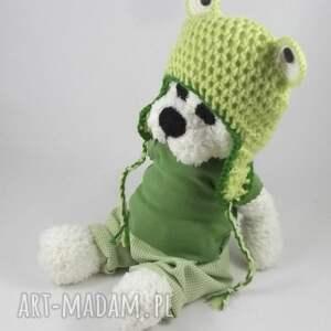 Prezent ŻABEK - szydełkowy miś, personalizacja, maskotka, czapka-żaba