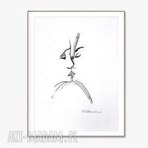 czarno biała grafika, pocałunek 3, 34 x 46, elegancki minimalizm, obraz do salonu