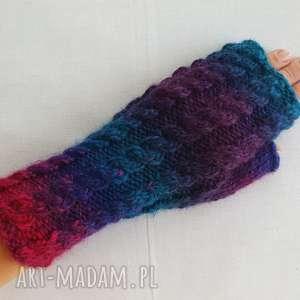 hand-made rękawiczki tęczowe z granatem