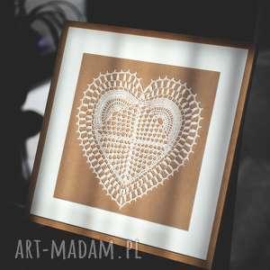 serce w ramce 3d, ślub, prezent, szydełko, rękodzieło, oryginalny, dekoracja
