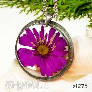 Prezent Naszyjnik z amarantowym kwiatem z1275, kwiatowy-naszyjnik, biżuteria-z-żywicy