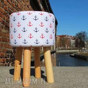 Pufa Białe Kotwice - 45 cm , puf, pufa, stołek, taboret, siedzisko, kotwica