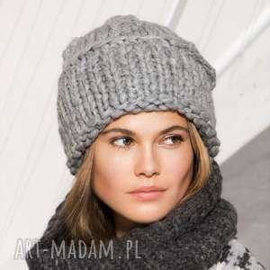 czapka nenana, wełniana gruba ciepła, dziergana, zimowa