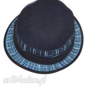 malowany kapelusz, kapelisz, filc, niebieski pojedynczy