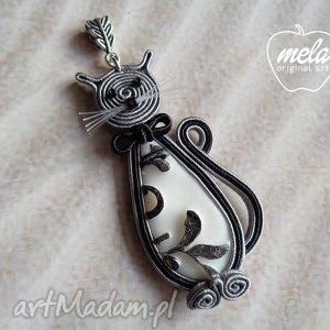 ręcznie wykonane wisiorki ~mela~ wisiorek naszyjnik sutasz kot riczi kotek