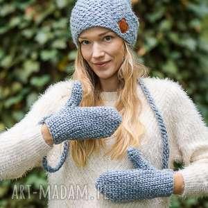 rękawiczki szarość poranka - stylowe, popiel, szary, wełniane, na sznurku