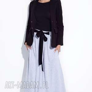 bien fashion szara spódnica do kostek z kokardą, casual, maxi, trapezowa