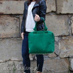 ręczne wykonanie cityfelt - torebka neseser, torba na ramię zieleń